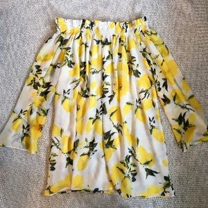 Sabree Yellow Lemon Printed Bardot Shift Dress